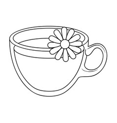 Glass mug with tea usefulvegetarian therapeutic vector