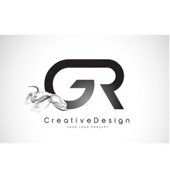 Gr letter logo design with black smoke vector