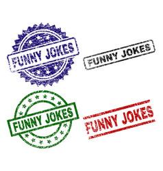 Grunge textured funny jokes stamp seals vector