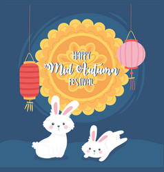 happy mid autumn festival rabbits lanterns vector image