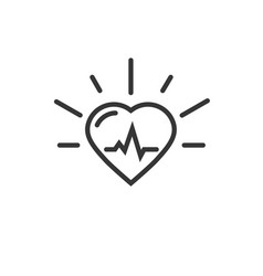 healthy heart beating icon line outline vector image
