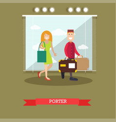 hotel porter in flat style vector image