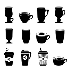 Icons coffee cups in black and white vector