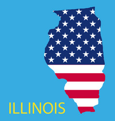 Illinois state of america with map flag print vector