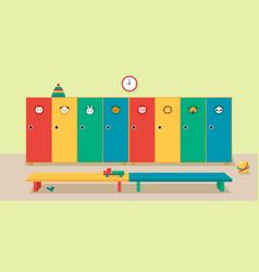 Interior locker room in kindergarten vector