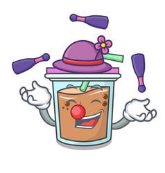 Juggling bubble tea mascot cartoon vector
