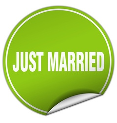 just married round green sticker isolated on white vector image