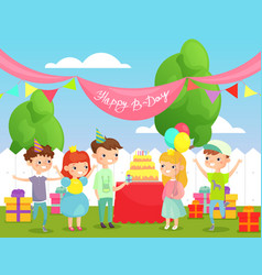 kids birthday party on back vector image