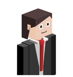 Lego silhouette half body man with formal suit vector