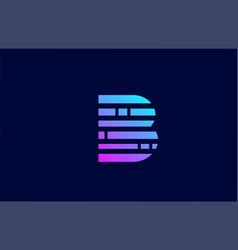Letter b logo alphabet icon with block line vector