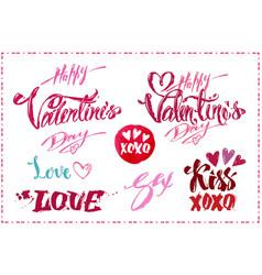 lettering set for valentines day design vector image