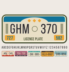 License car plates font embossed font letters and vector
