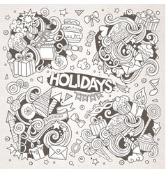 Line art set of holidays doodle designs vector