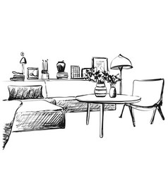 living room graphic black white interior sketch vector image