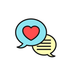 Love chat icon wedding forum logo simple clean vector