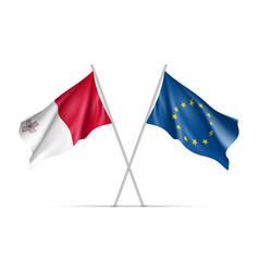 malta and european union waving flags vector image