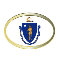 Massachusetts state flag oval button vector