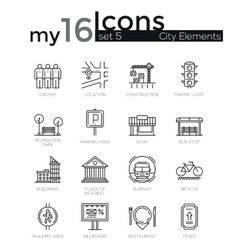 Modern thin line icons set of city elements vector image