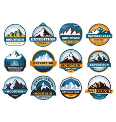 mountain labels hiking emblems mountains emblem vector image