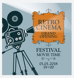 Movie festival poster with old movie camera vector