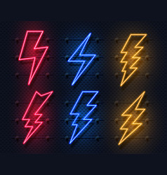 Neon lightning bolt glowing electric flash sign vector