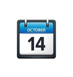 October 14 Calendar icon flat vector