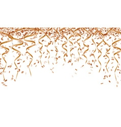 Orange ribbons and confetti vector