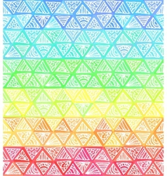 Ornate hand-drawn rainbow triangles vector