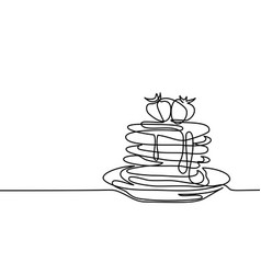 Pancakes with strawberry jam on the plate vector