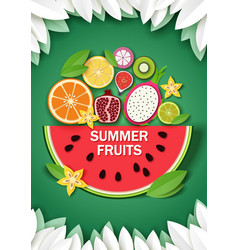 paper cut craft style summer background vector image