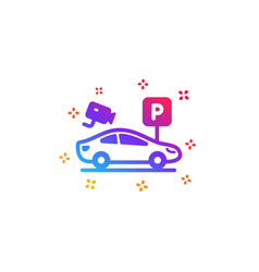 Parking with video monitoring icon car park sign vector