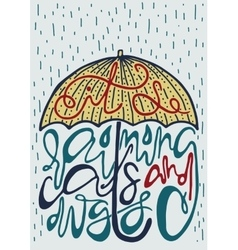 poster with silhouette umbrella and lettering vector image