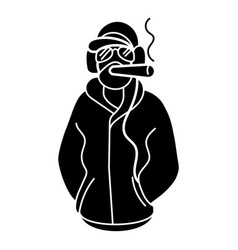 Rapper smoking icon simple style vector