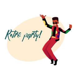 Retro disco party invitation dancing black man in vector