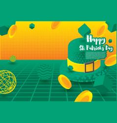 Saint patricks day festive banner with green 3d vector