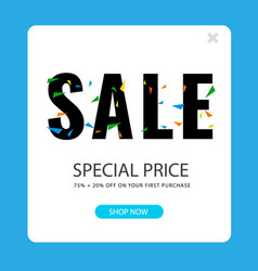sale special price 75 20 square frame background vector image