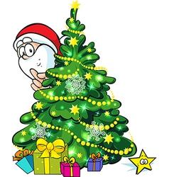 Santa Claus hidden behind a shining christmas tree vector