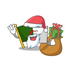 Santa with gift flag algeria are stored mascot bag vector