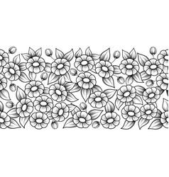 seamless black full floral brush vector image