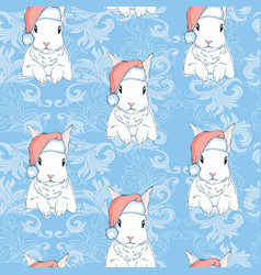 seamless pattern with cute cartoon bunny and vector image