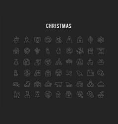 set line icons christmas vector image