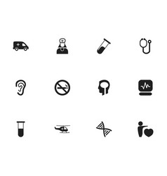Set of 12 editable hospital icons includes vector