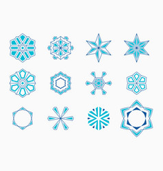 set of abstract symmetric geometric shapes vector image