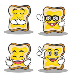 set of bread character cartoon vector image