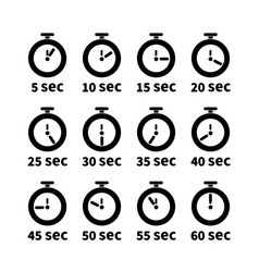 set of clock faces with different seconds values vector image