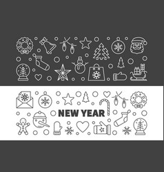 set of new year modern outline horizontal vector image