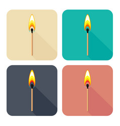 set of square icons with burning match isolated vector image