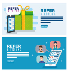 Set poster refer a friend with decoration vector