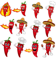 set red chili peppers cartoon vector image