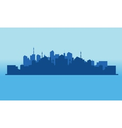 Silhouette city on the islands vector image